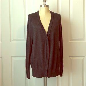 Ann Taylor LOFT Dark Gray V-Neck Cardigan Size XL